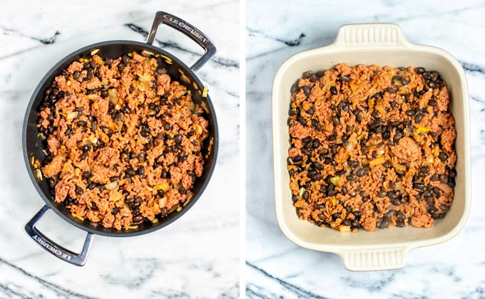 The prepared Taco meat is transferred from the pan to a casserole dish.