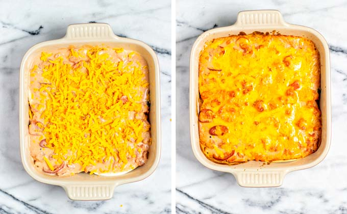 Finally, vegan cheese is sprinkled over the Taco Casserole and baked in the oven.