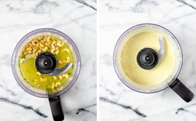 Preparing the cashew mixture in a food processor.