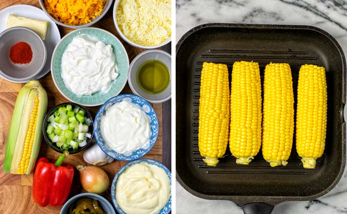 Ingredients for the Corn Dip collected on a wooden board.