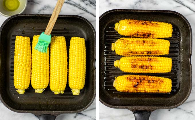 Showing the grilling of the fresh corn in a grilling pan before and after.