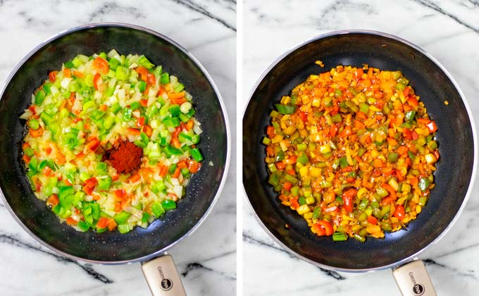 Fried vegetables are mixed with spices.