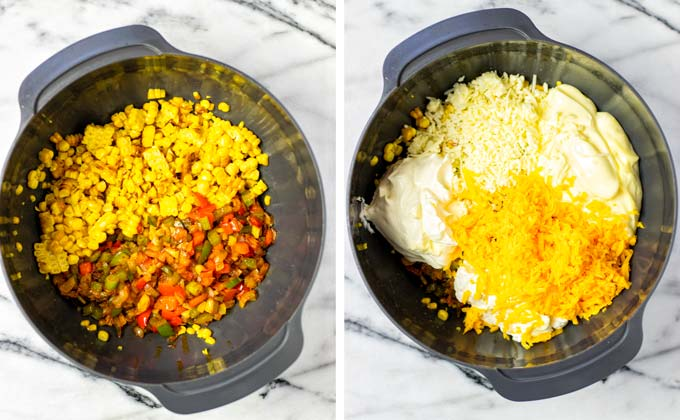 All ingredients for this Corn Dip are transferred to a large mixing bowl.
