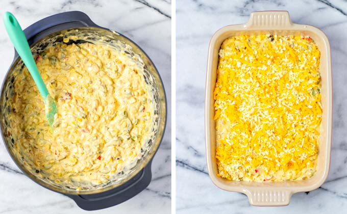 Mixed Corn Dip in the mixing bowl and transferred to a casserole dish, sprinkled with vegan cheese.