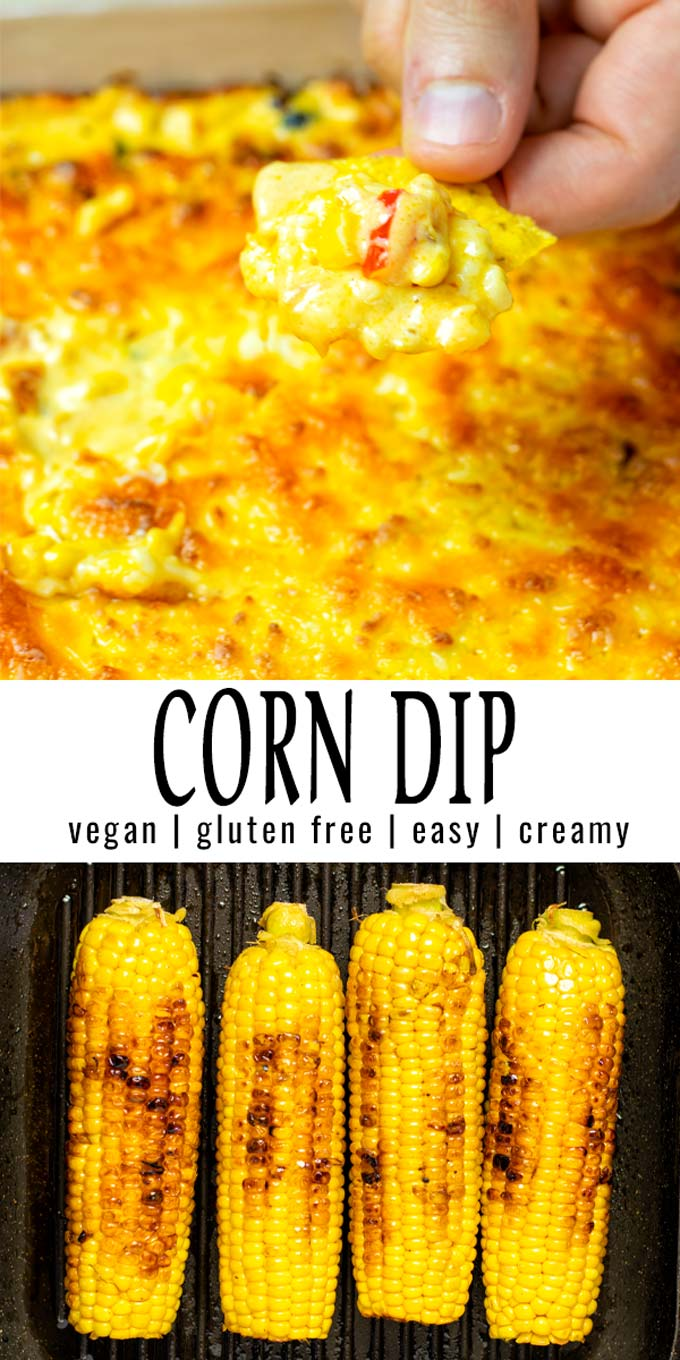 Collage of two pictures of the Corn Dip with recipe title text.