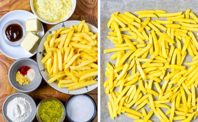 Ingredients for the Disco Fries prepared on a wooden board.