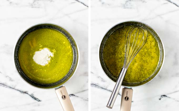 Vegan butter is melted in a saucepan, with flour being whisked in.