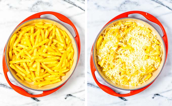 Baked fries are transferred to a casserole dish and mixed with vegan mozzarella shreds.