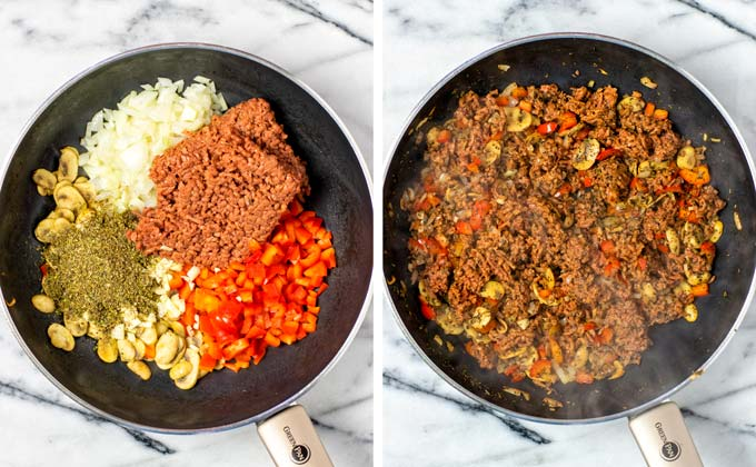 Vegetable and vegan ground beef mixture before and after frying in a large pan.