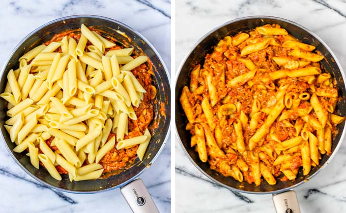 Mixing the precooked pasta into the sauce, before and after.