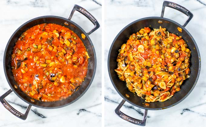 Pasta alla Norma in a saucepan without and with pasta mixed in the sauce.