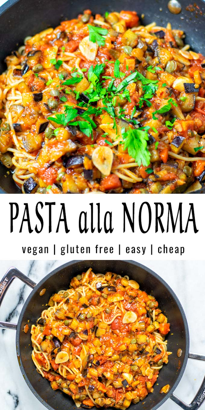 Collage of two pictures of the Pasta alla Norma with recipe title text.