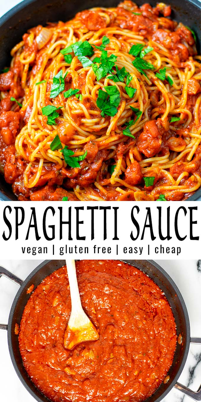 Collage of two pictures of the Spaghetti Sauce with recipe title text.
