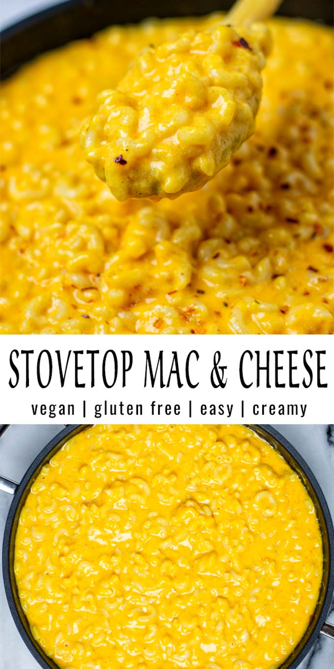 Collage of two pictures of the Stovetop Mac and Cheese with recipe title text.