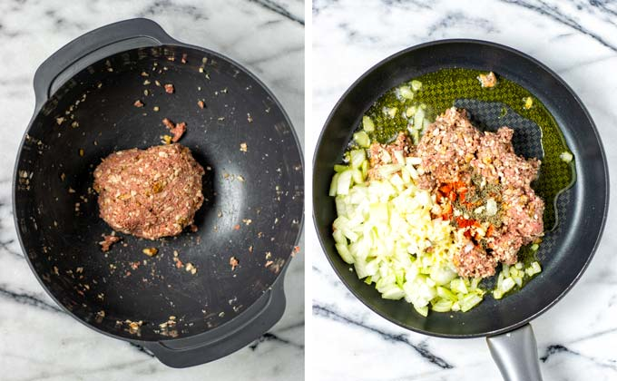 Vegan ground beef mixture, onions, and spice mix are fried in a large pan.