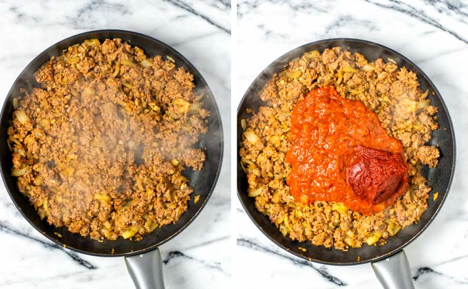 Fired ground beef mixture is combined with tomato sauce and tomato paste.