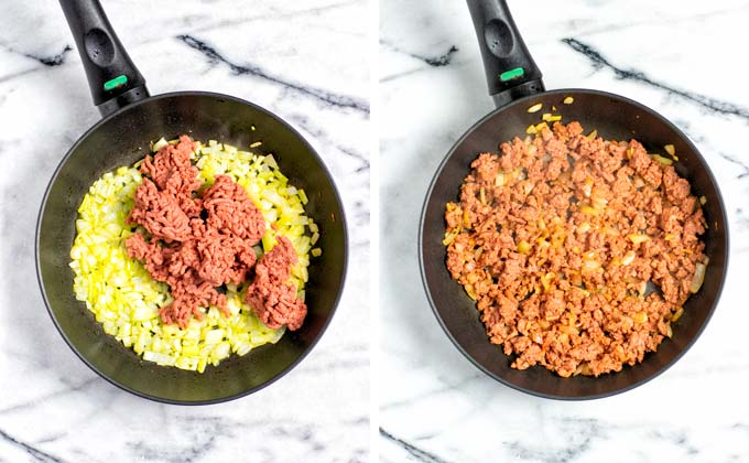 Showing how vegan ground beef is added to the onion mixture in the frying pan.