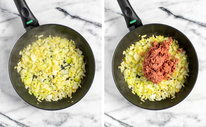 Diced onions and vegan ground beef are fried in a frying pan.