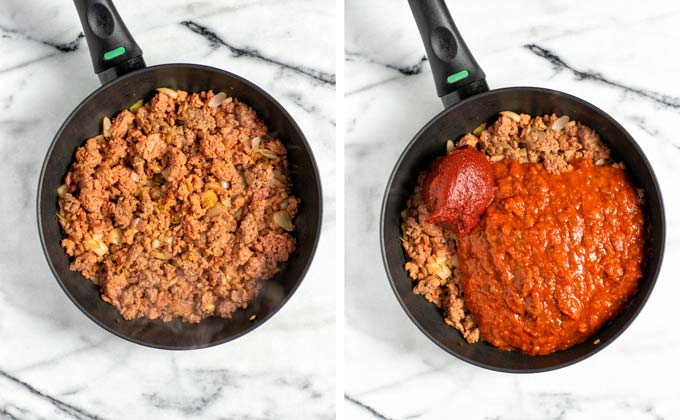 Showing the mixing of the fried vegan ground beef with marinara and tomato paste.