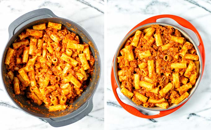 Tomato-beef-pasta mix is transferred to a casserole dish.