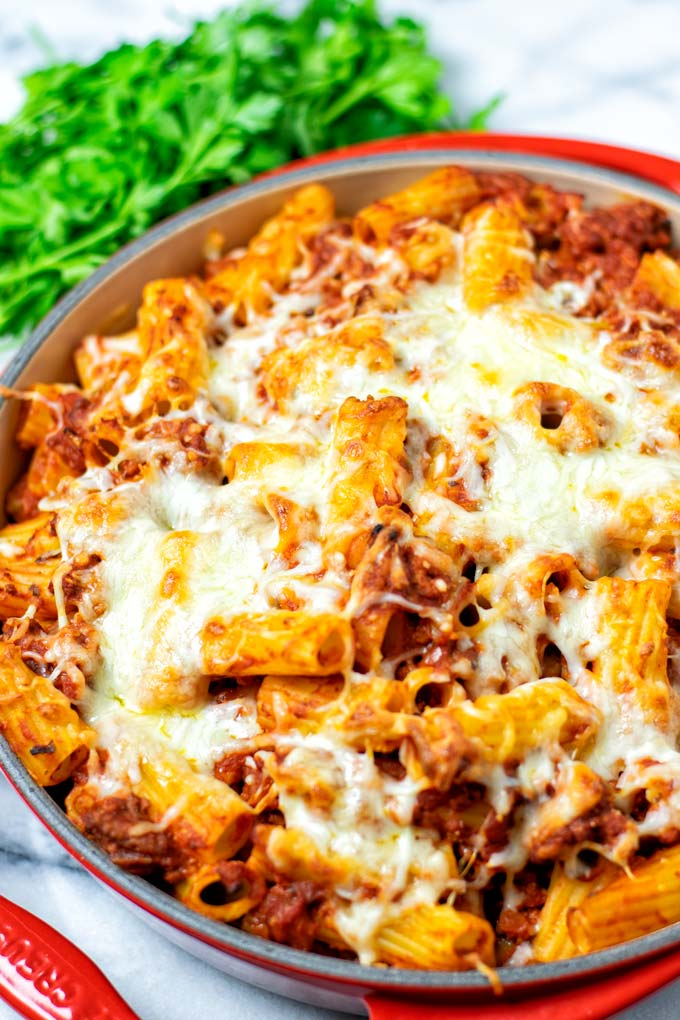 Closeup view on the Pasta Al Forno.