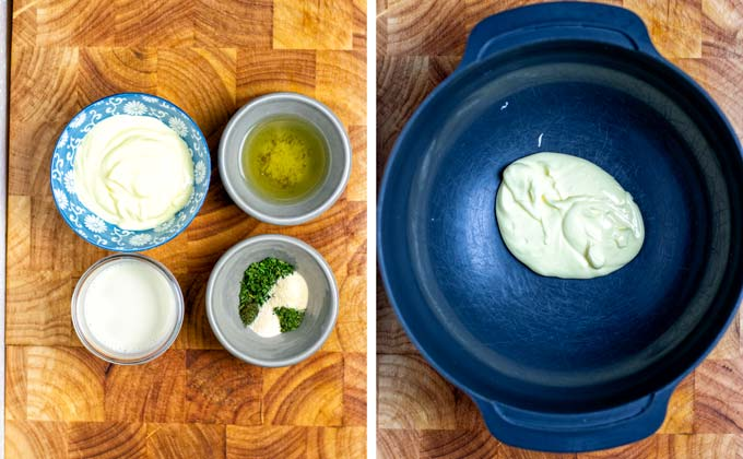 Ingredients for the Ranch Dressing collected on a wooden board.
