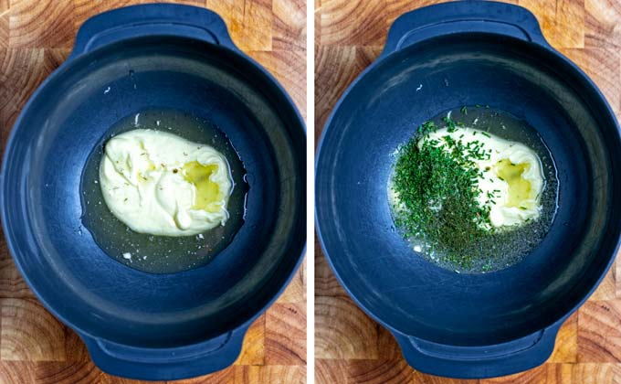 A large dark bowl with vegan mayo, pickle juice and herbs.