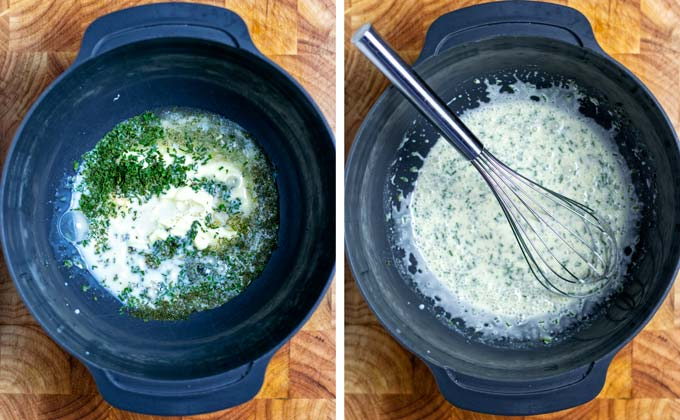 Showing the mixing of the Ranch Dressing ingredients.