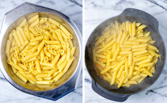 Cooked pasta is mixed with the sauce in a large bowl.