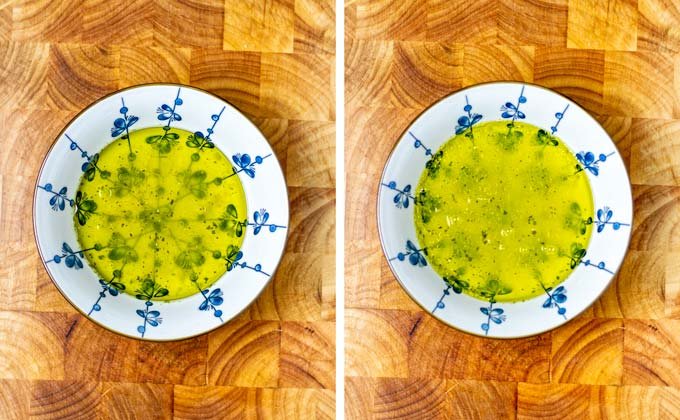 Lemon juice and olive oil in a bowl.