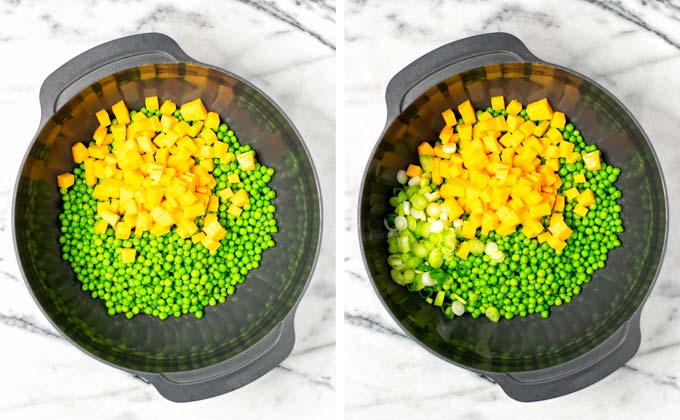 Vegan cheddar cubes and scallions are given into a large bowl with peas.
