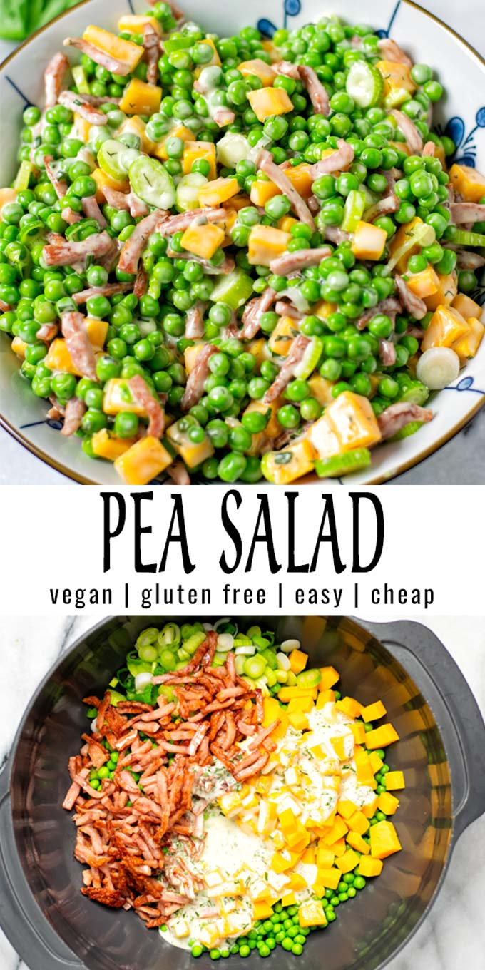 Collage of two pictures of the Pea Salad with recipe title text.