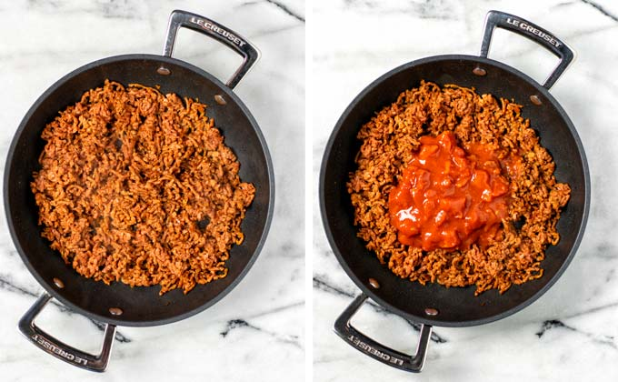 Vegan ground beef is fried in a pan and mixed with crushed tomatoes.