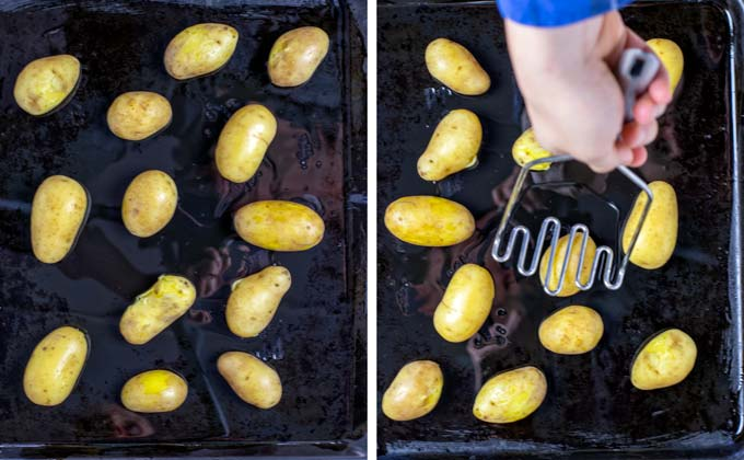 Potatoes are distributed on a baking sheet, prepared with olive oil.