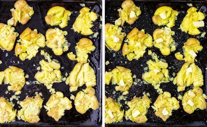 Showing smashed potatoes on baking sheet, seasoned with olive oil and garlic, as well as a pinch of butter.