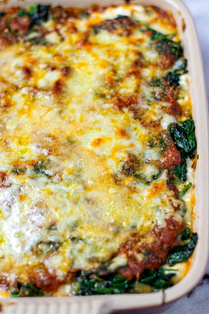 Closeup on the cheese crust of the Spinach Lasagna.