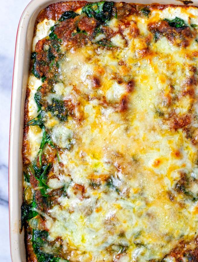A full casserole dish with the oven baked Spinach Lasagna.