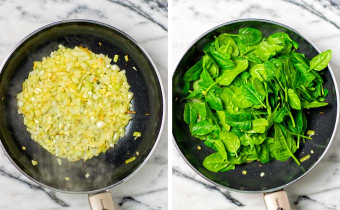 Diced onions, garlic, and fresh spinach are sauteed in a large saucepan.