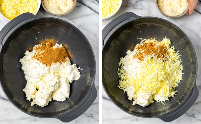 Mixing in spices, vegan parm and mozzarella into the cottage cheese.