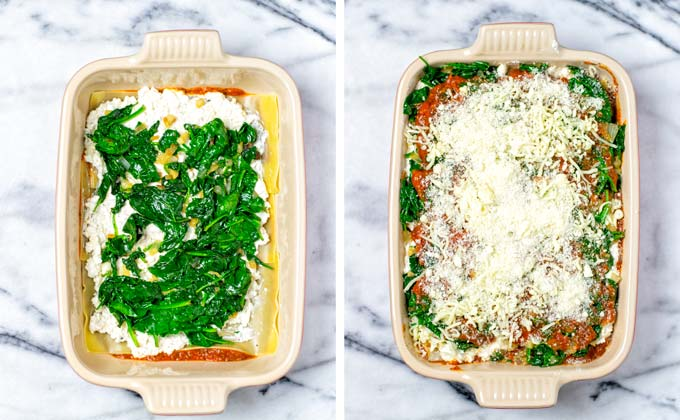 Adding sauteed spinach and onion mixture on the cheese layer. Repeat 3 times and finally top with more vegan cheeses.
