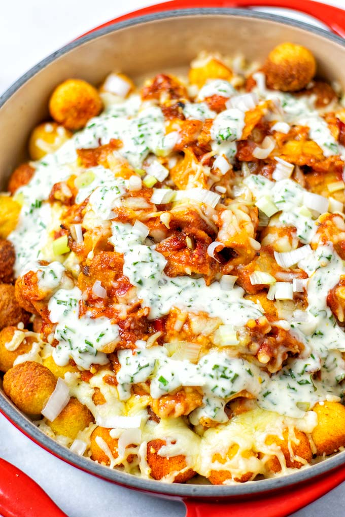 Closeup of the Totchos in the casserole dish.