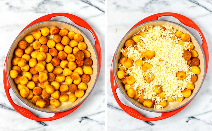 Tater tots have been transferred to a large round casserole dish and then topped with vegan cheese.
