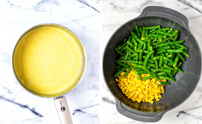 Green beans and corn are shown in a large mixing bowl.