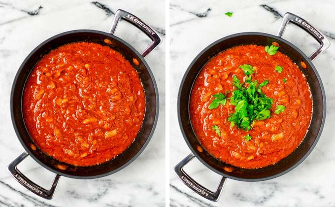 View on the mixed Arrabbiata Sauce with fresh parsley given on top.