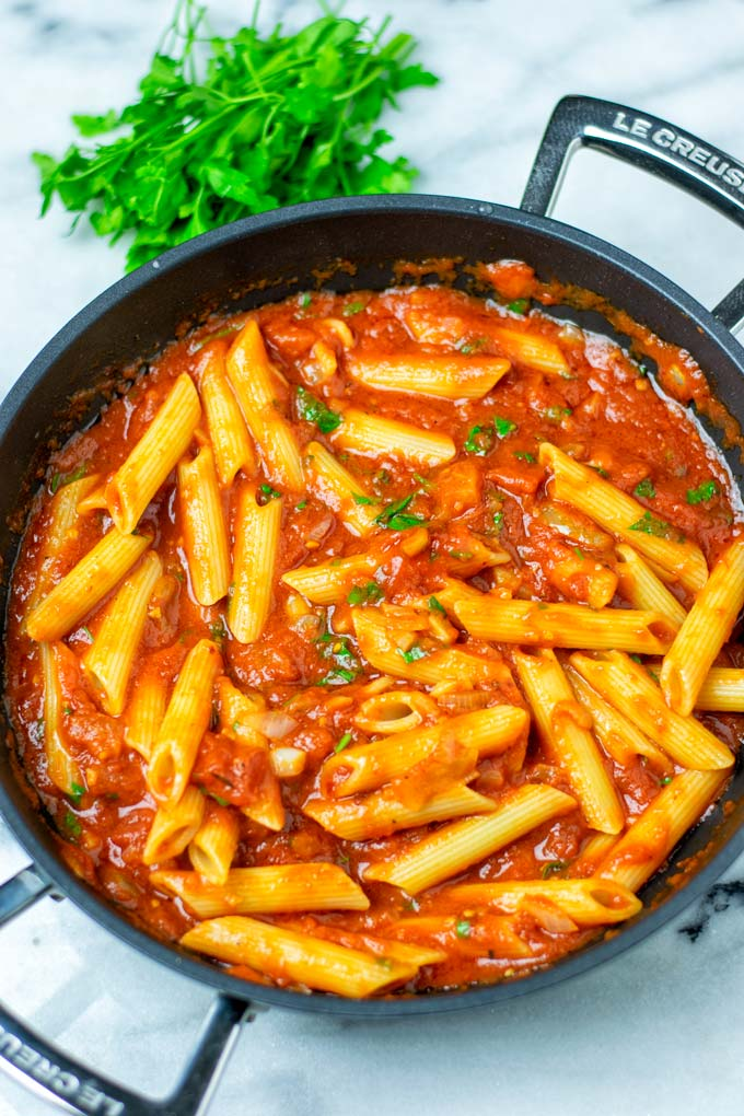 Top view on the Pasta with Arrabbiata Sauce.