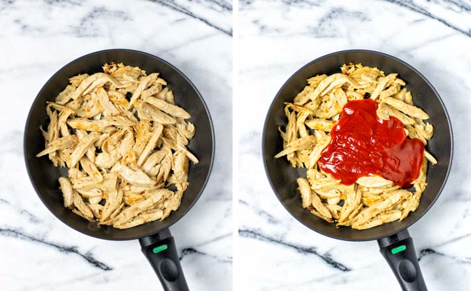Vegan chicken stripes are fried in a medium size frying pan and mixed with hot sauce.