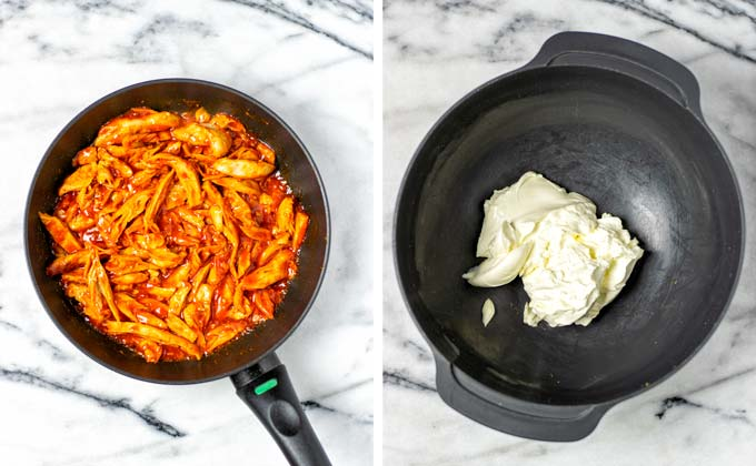 Showing the ready Buffalo Chicken in the frying pan and the cream cheese in a large grey mixing bowl.
