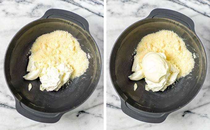 Large mixing bowl with additional ingredients (vegan cheese, mayo) being mixed with the cream cheese.