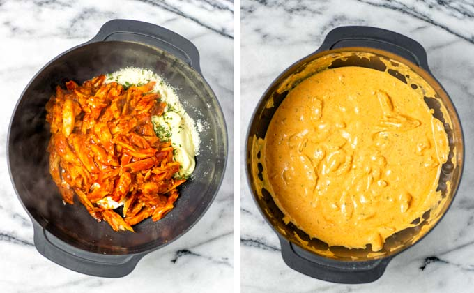 Prepared vegan Buffalo Chicken is added to the mixing bowl with the creamy ingredients and then mixed.