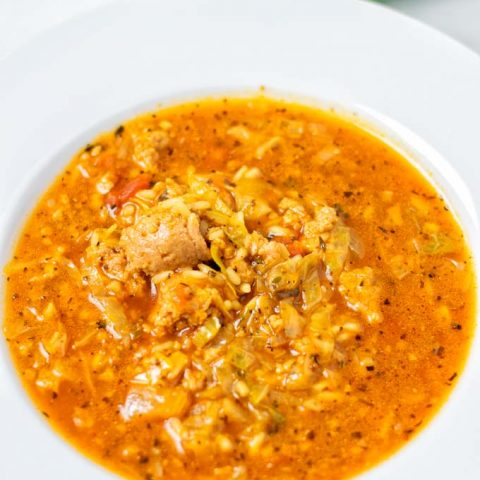 Closeup view on a plate with the Cabbage Roll Soup.